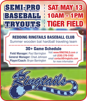 Ringtails semi-Pro baseball tryouts advertisement in the Redding Record Searchlight
